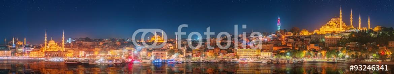93246341 – Ukraine – Panorama os Istanbul and Bosporus at night