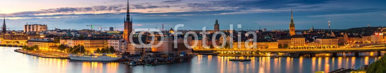 93275022 – Ukraine – Scenic summer night panorama of  Stockholm, Sweden