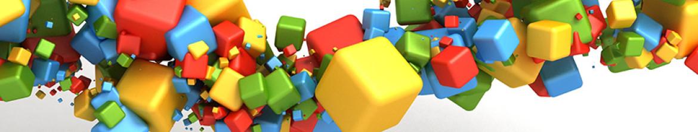 Стеклянная панель Разноцветные кубики с эффектом 3D