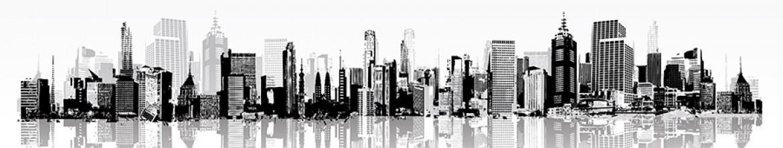 Стеклянные панели Черно-белый рисунок города