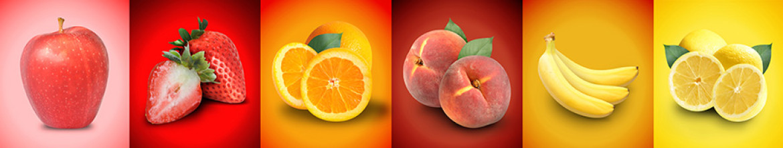Скинали из стекла Яблоко, клубника, лимон, персик, банан и апельсин